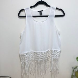 2/$20 Forever 21 White tank crop top with crochet